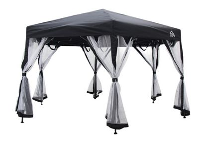 All Seasons Gazebo 2mx2mx2m Instant Pop Up Hexagonal gazebo With 6 Sides Panels, Leg Weight Bags, Carry Bag And 2 Windbars in Black