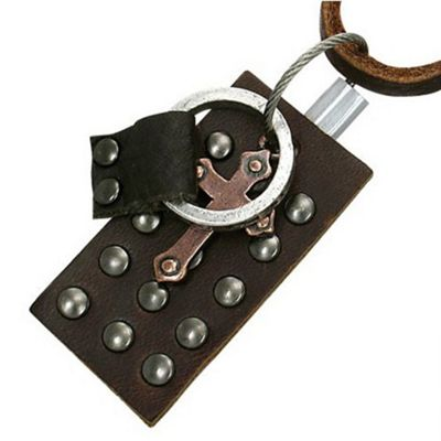 Urban Male Adjustable Length Brown Leather Necklace & Dog Tag with Charms