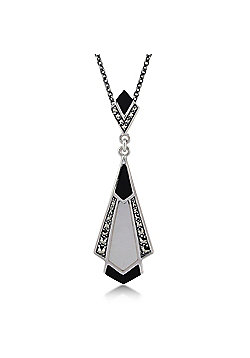 Gemondo Sterling Silver Black Onyx, Mother of Pearl & Marcasite 45cm Necklace