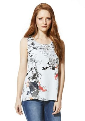 Vero Moda Floral Split Back Sleeveless Top XS Blue