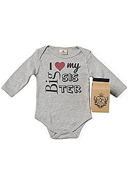 Spoilt Rotten - I Love My Big Sis Babygrow 100% Organic in Milk Carton - Grey