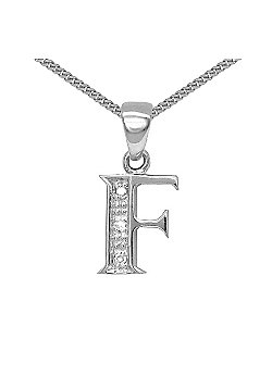 Jewelco London 9 Carat White Gold Elegant Diamond-Set Pendant on an 18 inch Pendant Chain Necklace - Inital F