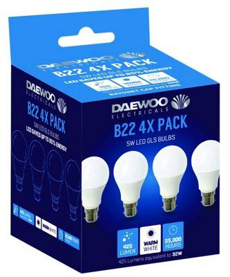 4 x Daewoo LED Golf Ball Bulbs, B22, 40 W, Warm White [Energy Class A]