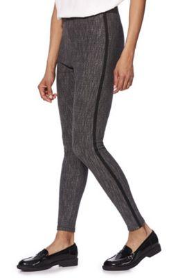 F&F Contrast Stripe Salt and Pepper Leggings Grey/Black 6