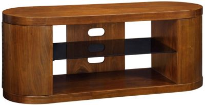 Jual Walnut JF207 TV Cabinet with black glass