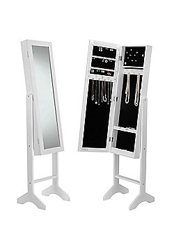 Beautify Floor Standing Mirror and Jewellery Organiser - White