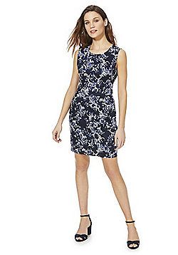 Mela London Stencil Print Floral Dress - Blue