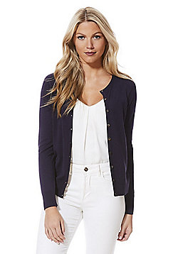 F&F Crew Neck Cardigan with As New Technology - Navy
