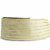 Ribbon Wired Edge - 2.5inchrs x 10y - Hessian & Gold Stripe