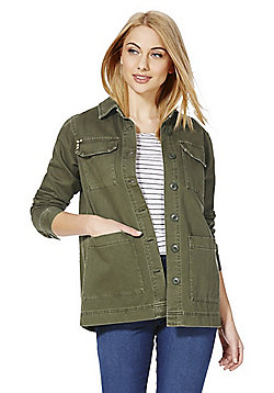 F&F Embroidered Shacket - Khaki