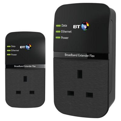 BT Broadband Extender Flex 500 Kit, Passthrough Powerline Adapter