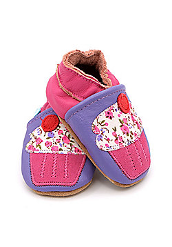 Dotty Fish Soft Leather Baby and Toddler Shoe - Purple with Pink Cupcake - 0-6 Months to 3-4 Years - Purple & Pink