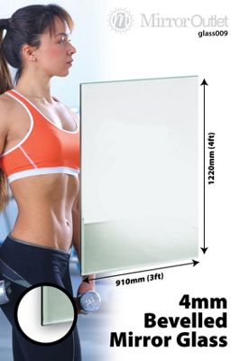 Large Bevelled Mirror Glass Home Gym, Bathroom 4Mm Thick 4Ft X 3Ft 122Cm X 91Cm