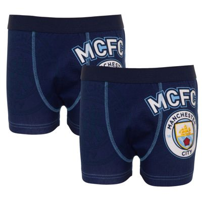 Manchester City FC Boys Boxer Shorts 2 Pack Blue 5-6 Years