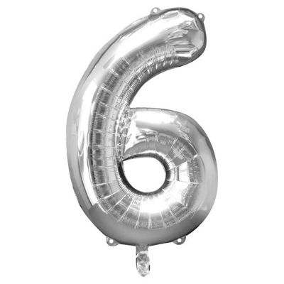 Silver Number 6 Balloon - 34 inch Foil