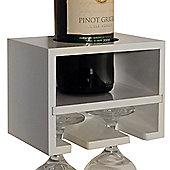Cabernet - Wall Mounted Wine Bottle / 2 Glass Rack - White