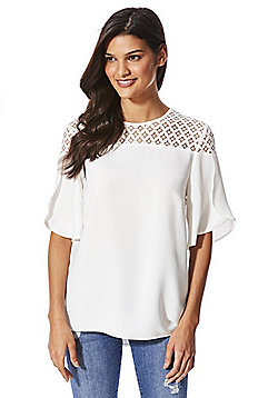 F&F Lace Yoke Tulip Sleeve Top - Ivory