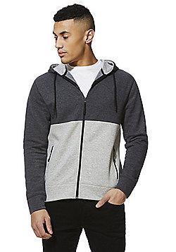 F&F Colour Block Zip-Through Hoodie - Grey