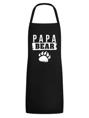 Papa Bear Men's Apron, Black