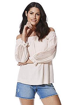 F&F Crochet Trim Off the Shoulder Crinkle Top - Blush