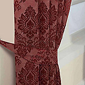 Homescapes Red Jacquard Tie Back Pair Traditional Damask Design