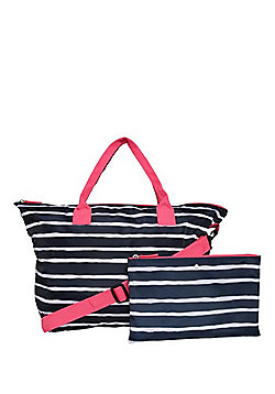 F&F Packable Striped Tote Bag Navy One Size
