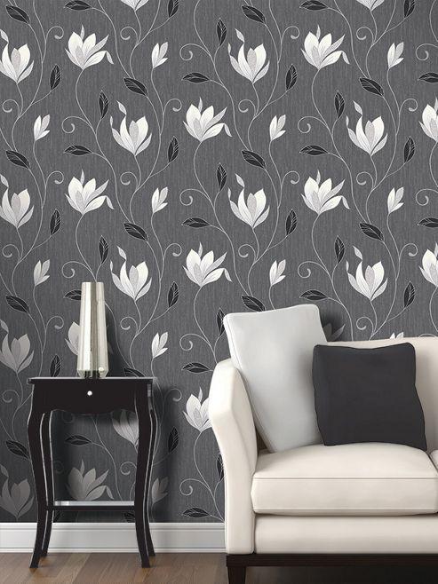 Synergy Floral Glitter Wallpaper Ebony Black Vymura M0783