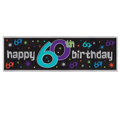Party - Giant Sign Banner - Happy 60th Birthday - Amscan