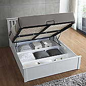 Happy Beds Malmo Wooden Ottoman Storage Bed with Memory Foam Mattress - Oak - White