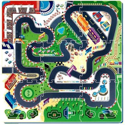 Racing Scene Puzzle Play Mat 96 x 96 cm