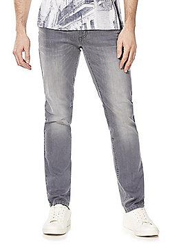 F&F Slim Leg Belted Jeans - Grey