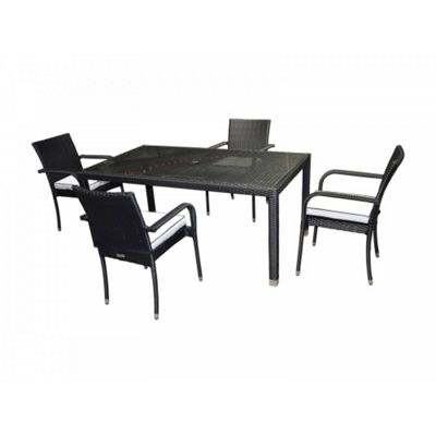 Roma 4 Chairs And Open Leg Rectangular Table Set in Black and Vanilla