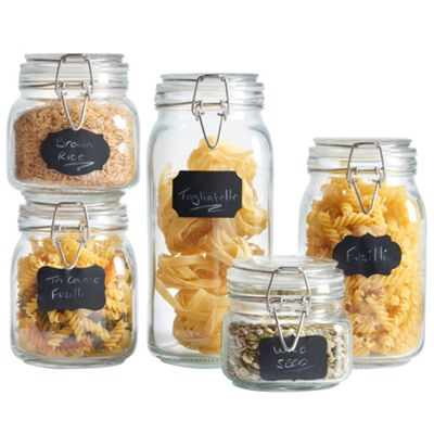 VonShef Set of 5 Clip Top Glass Storage Preserving Jars