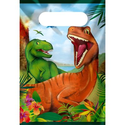 Dinosaur Adventure Plastic Party Bags - Loot Bags - Dinosaur Party Supplies