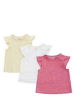 F&F 3 Pack of Broderie Anglaise Cap Sleeve T-Shirts - Multi