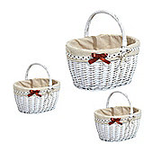 Homcom 3 Wicker Storage Baskets Set Bucket Willow Shopping Hamper w/ Liner