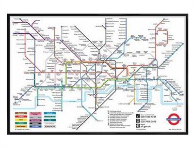 Buy London Underground Gloss Black Framed London Underground Map