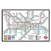 London Underground Gloss Black Framed London Underground Map Poster