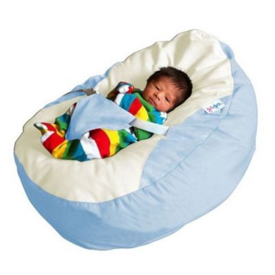 GaGa Baby Blue Cuddlesoft Pre Filled Bean Bag With Adjustable Safety Harness
