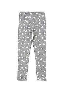 F&F Unicorn Print Leggings - Grey