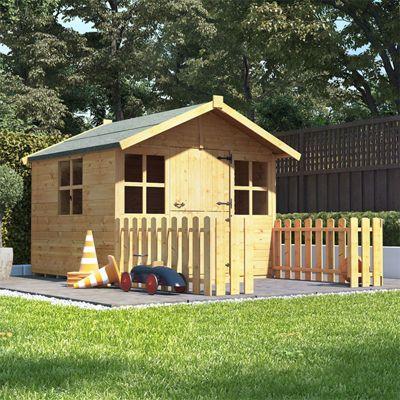 6x5 BillyOh Lollipop Junior Children Wooden Playhouse Outdoor Playground - Premium with 4ft Picket Fence