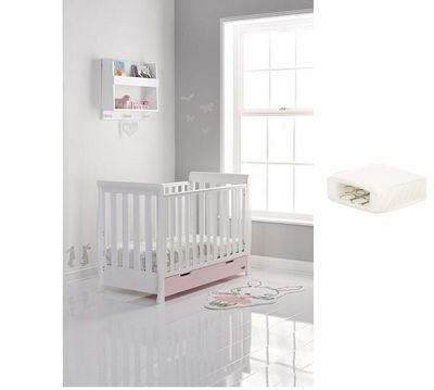 Obaby Stamford Mini Cotbed/Drawer/Pocket Sprung Mattress - White with Eton Mess