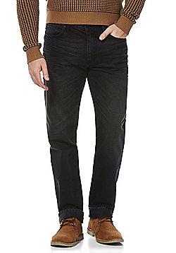 F&F Pre-Washed Straight Leg Jeans - Black