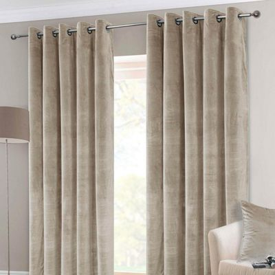 Cream Interlined Velvet Thermal Eyelet Curtain Pair, 46 x 90