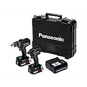 Panasonic EYC217LS2F Combi & Impact Driver Twin Pack 18v Dual Volt 2 x 14.4V 4.2Ah Li-Ion