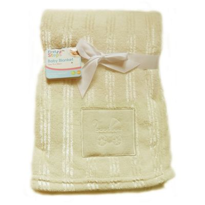 First Steps Cream Embroidered Fleece baby Blanket 75x100cm