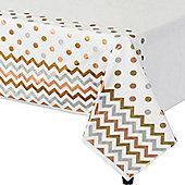 Metallic Polka Dot & Chevron Plastic Tablecover - 1.4m x 2.6m