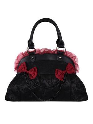 Banned Flocked Skull Rose Handbag