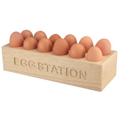 Egg Station - Solid Wood Egg Storage Rack - Natural
