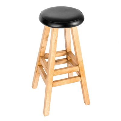 Homescapes Solid Wood Bar Stool with Faux Leather Cushioned Seat, 79cm tall